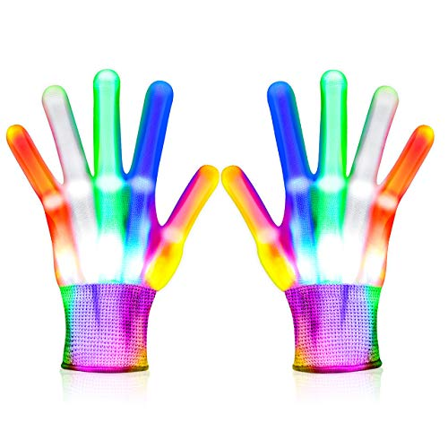Toys for 3-12 Year Old Boys Girls Flashing LED Gloves Fun Toys for Kids Boys Toys Age 8-10 Gifts for 8-12 Boys Age 3-12 Stocking Stuffers for Boys LED Gloves for Kids, Small Size