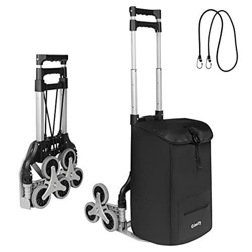 Carretilla de mano plegable, Gimify Carretillas para Escaleras de aluminio con 6 ruedas TPR, cuerda elástica, bolsa extraíble, para subir escaleras