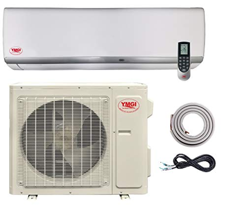 YMGI 22 SEER 12000 BTU Ductless Mini Split Wall Air Conditioner with Heat Pump DC Inverter 208-230V 60Hz with 15 Feet Installation Kit