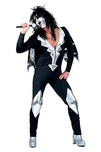 shoperama Glam Rock Herren-Kostüm Rockstar Overall mit Cape Schwarz/Silber Kiss Spaceman, Größe:52/54