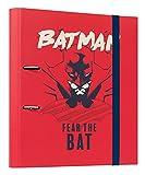 Grupo Erik Carpeta 2 anillas troquelada premium Batman - Archivador A4 - Carpeta anillas tapa dura / Archivador 2 anillas - Carpeta anillas A4 - Producto con licencia oficial, C2AT0033