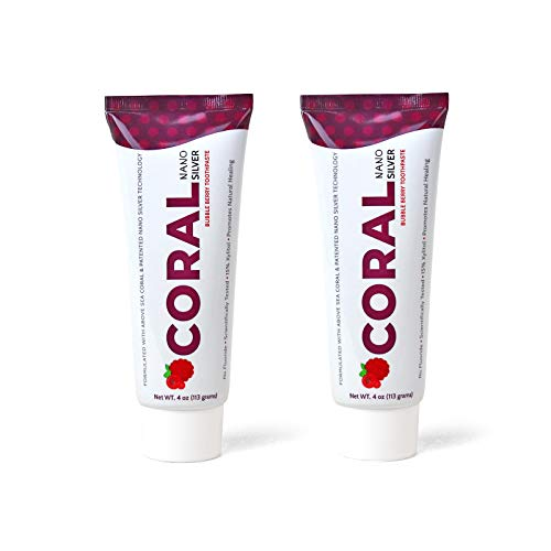 Coral White Nano Silver Bubble Berry Kids Fluoride Free Toothpaste, Natural Fluoride Free Teeth Whitening Toothpaste, Coral Calcium Nano Silver Infused SLS Glycerin Free 4 Ounce (2 Pack)