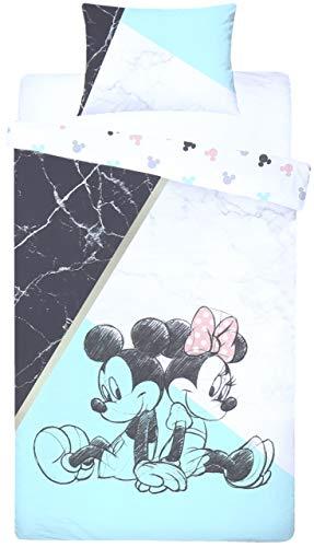 sarcia.eu Vit/blå enkel storlek vändbart påslakan + örngott sängkläder set MINNIE & MICKEY Mouse DISNEY
