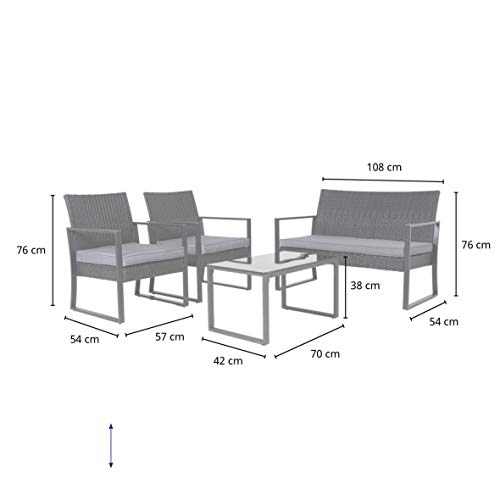 SVITA LOIS XL Poly Rattan Sitzgruppe Gartenmöbel Metall-Garnitur Bistro-Set Tisch Sessel grau - 2