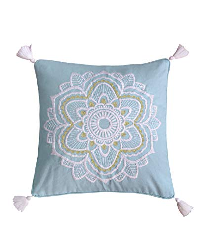 Levtex Home - Angelica Quilt Set - King Quilt + Two King Pillow Shams - Floral - Aqua Taupe Green Blue Orange Pink Grey - Quilt (106x92in.) and Pillow Shams (36x20in. ) - Reversible - Cotton