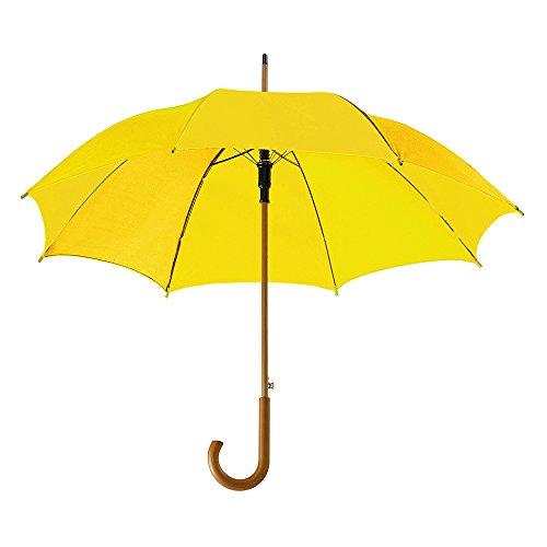 eBuyGB Automatischer klassischer Regenschirm aus Holz mit gebogenem Griff, gelb (Gelb) - 1270308