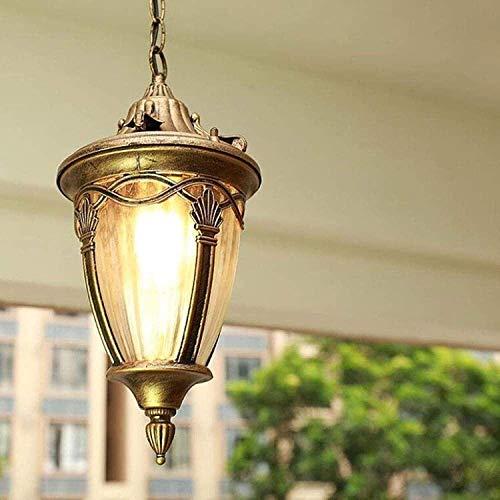 JXJ Candelabro Victoria European Vintage Luces Colgantes para Exteriores IP65 Impermeable Linterna Colgante Luz Retro Semilla de Vidrio Lámpara Colgante Aluminio Exterior Luces Colgantes para pa