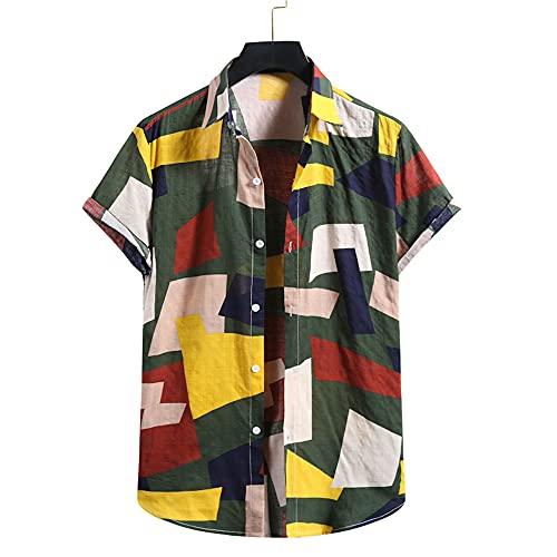 Camisa Hombre Personalidad Cuello V Moda Color Impresión Hombre T-Shirt Botón Placket Verano Manga Corta Playa Shirt Casual Suelto Vacaciones Hombre Hawaiana Camisa A-Green S