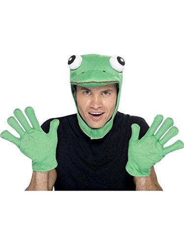 Smiffys Kostüm Zubehör Frosch Mütze Kopf Handschuhe Karneval Fasching