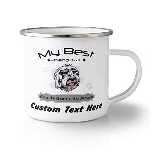 N\A Taza de Viaje irrompible Personalizada de 10 onzas Mi Mejor Amigo es Cao Da Serra Aires Perro Taza de té de Aluminio Texto Personalizado aquí