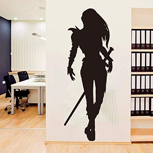 Vinyl Wandtattoo Krieger Samurai Katana Schwerter Aufkleber Wohnkultur Wandtattoos Japanische Comics Wohnzimmer Kinderzimmer Wandaufkleber 32X85 Cm