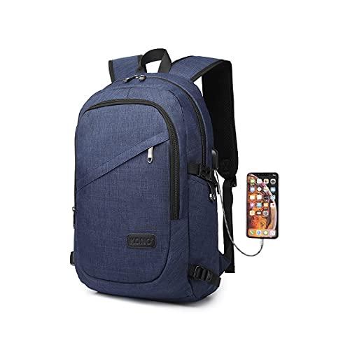 Kono Mochila Portatil para Hombre con Puerto de Carga Externa USB para Macbook y Netbook Negocio-35L (Azul)