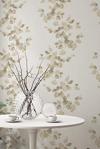 Papel pintado flores pared – Papel pintado floral – Papel pintado para dormitorio, salón o pasillo – beige claro crema...