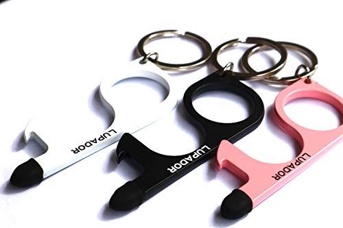 3 hochwertige kontaktloser Türöffner mit Flaschenöffner, Touchpen und Schlüsselanhänger | Türen öffnen ohne anfassen, Knöpfe und Touchscreens kontaktlos bedienen | Desinfizierbare Hygienehaken