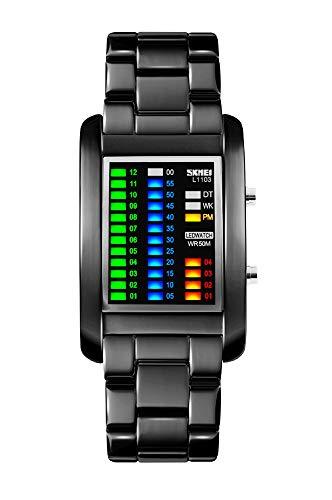 FunkyTop Binär Matrix LED Digital wasserdichte Uhr Mens Classic Kreative Mode Schwarz überzogen Armbanduhren (schwarz)