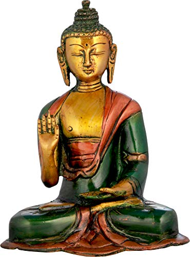 Exotic India Blessing Buddha (Tibetan Buddhist) - Brass Statue - Color Henna Touch Color