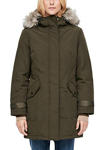 s.Oliver Damen Wintermantel mit Fake Fur olive 44