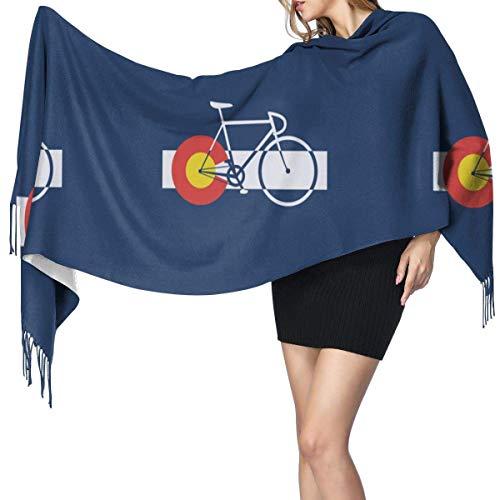 Bandera de Colorado y bicicleta, chal largo a la moda para m