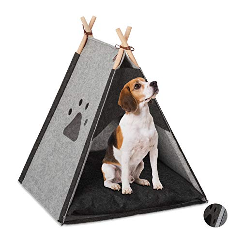 Relaxdays Hundezelt, großes Haustiertipi für Hunde & Katzen, aus Filz & Holz, mit Kissen, 70,5 x 59,5 x 59 cm, hellgrau, 1 Stück
