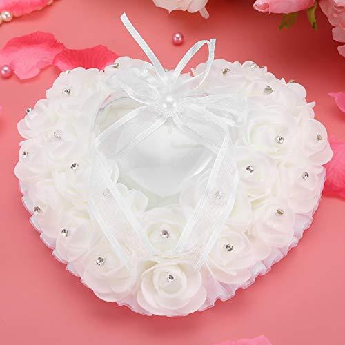 Okuyonic Cojín para Anillos de Boda Diseño Compacto Romántico en Forma de corazón Rosa Decoración de Diamantes de imitación Almohada romántica para Anillos de Boda para decoración de(White)