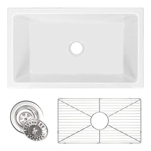 Ordinaire ZUHNE Ostia 30 Inch White Farmhouse Apron Single Bowl Fireclay Reversible  Kitchen Sink With Grid Protector