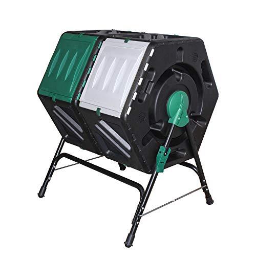 Giading Compost bin Outdoor, Compost Tumbler Easy Tumbling or Rotating, 2 Sliding Doors, (2 X 18.5 Gallon / 2 x 70 Liter).
