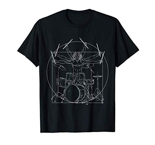 Drummer Schlagzeug Da Vinci Schlagzeuger Rock Musik Geschenk T-Shirt