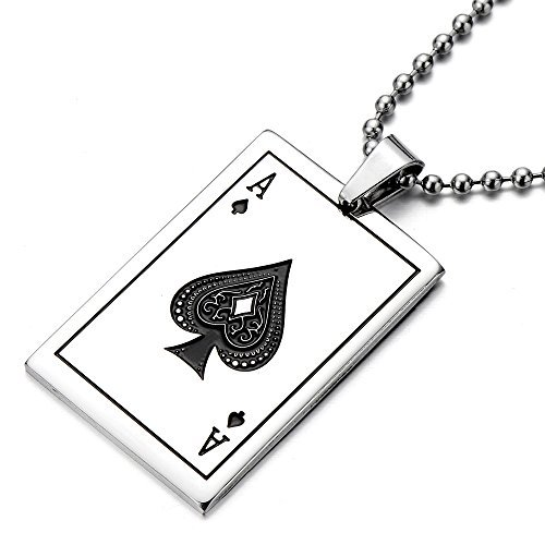 COOLSTEELANDBEYOND Tarjeta Ace Poker Colgante, Collar de Hombre Mujer, Acero Inoxidable, Bola Cadena 75CM