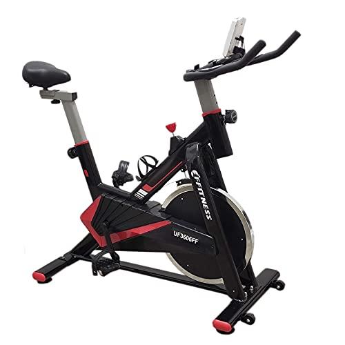 FFitness Spin Bike Cyclette Fit da Interno con Porta Cellulare, Cardio sul Manurbio Cinghia in Velcro | Volano 15kg