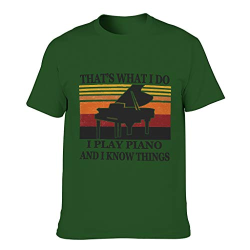 COMBON Shop Camiseta de algodón para hombre con diseño de piano Know Things - Music Hobby Summer Leisure Top