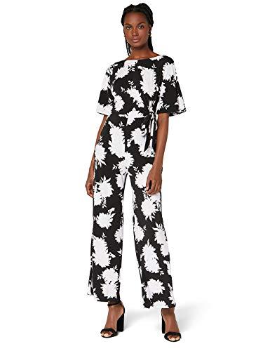 Marchio Amazon - TRUTH & FABLE Tuta da Sera a Manica Corta in Cotone Jersey Donna, Multicolore (lilla ombra floreale), 38, Label: XXS