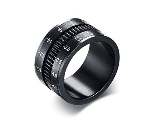 USUASI Hobbies - Anillo giratorio para cámara de 12 mm, acero de tungsteno, sin decoloración, para hombres y mujeres Negro