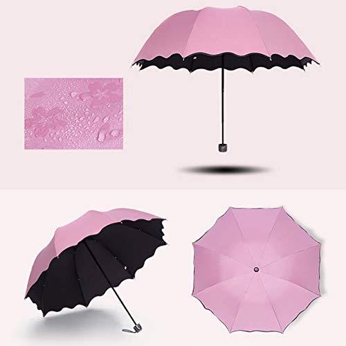 ZGMMM Folding Umbrella Bloom Blume im Regen Wasser Windsicher Sonnenschutz für Sonnenschirm Anti-UV -rosa