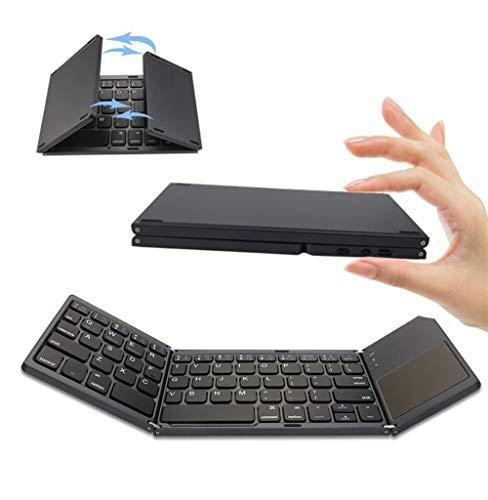 DevileLover Tri-Plegable Teclado Bluetooth 3.0 Portátil Ultra Delgado con TouchPad InalámbricoTeclado Recargable...