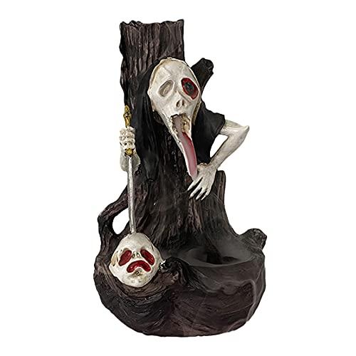 FLAMEER Quemador de cascada de incienso de estatua de fantasma de Halloween, soporte de incienso de humo de reflujo de decoración, incensario de humo inverso
