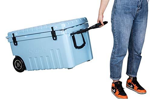 Seavilis Wheeled Ice Box with S.S. Handle 70QT -SkyBlue