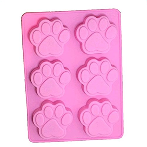 Hacoly 6 Cavities Hund Fußabdrücke Silikon Kuchen Backen Schimmel Cat Pfote Muffin Cookie Mould Schokolade handgemachte Seife Eis Zucker Handwerk Kuchenform Bakeware DIY 3D Plätzchen Tool - Rosa