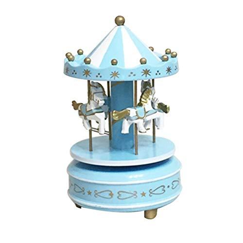 TZSHUQ Houten Merry-Go-Ronde carrousel muziekdoos voor speelgoed Bruiloft Verjaardagen Gift Wind-Up Paard Fairground Muziekdoos Blauw
