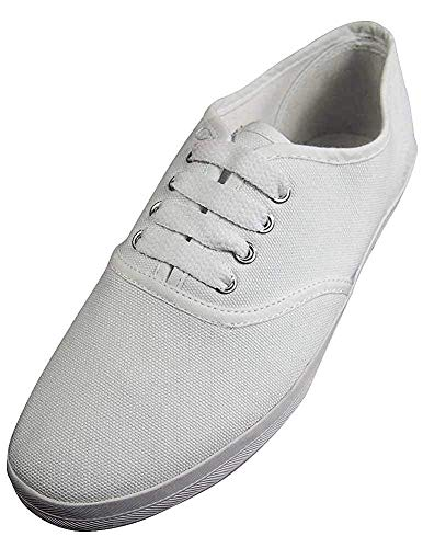 Easy USA - Womens Canvas Lace Up Shoe with Padded Insole, White 37302-8.5B(M) US