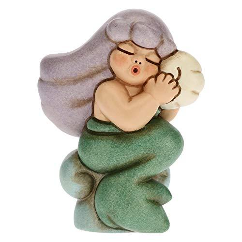 THUN - Bomboniera Sirena Magica con Capelli Viola e Conchiglia - Linea Bomboniere - Ceramica - 11 x 11 x 9,7 h cm