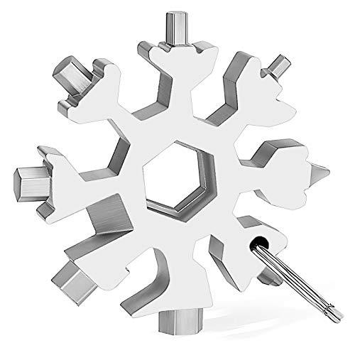 Veiai Snowflake Multitool 18 en 1 Destornillador multifuncional llavero llave para actividades al aire libre accesorios (plata)