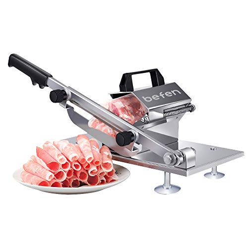 Manual Frozen Meat Slicer, befen Stainless Steel Meat Cutter Beef Mutton Roll...