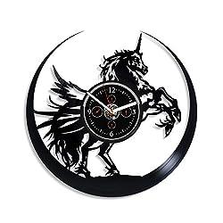 Kovides Unicorn Clock 12 Inch Unicorn Horse Art Exclusive Wall Clock Vintage Vinyl Record Retro Wall Clock Large Unicorn Art Birthday Gift Unicorn Gift New Year Gift Handmade Clock Unicorn Art