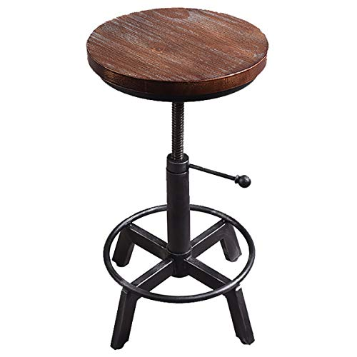 HHUMR - Sgabello da bar in legno massiccio industriale, stile vintage, in ferro da stiro, sedie da bar sollevabili, per cucina, pub e casa, colore: nero, M