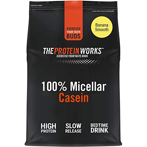 100% Micellar Casein Protein Powder | Slow Release Protein Shake | Amino Acids | High Protein | THE PROTEIN WORKS | Banana Smooth | 1 Kg