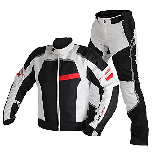 ZDSKSH Motorradkombi Herren 2teilig Textil Wasserdicht Motorradjacke + Hose Touring Scooter Biker Racing Kombi Mit Abnehmbarem Thermofutter