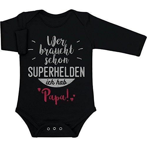 Shirtgeil Wer braucht Schon Superhelden ich hab Papa Baby Langarm Body 0-3 Monate Schwarz