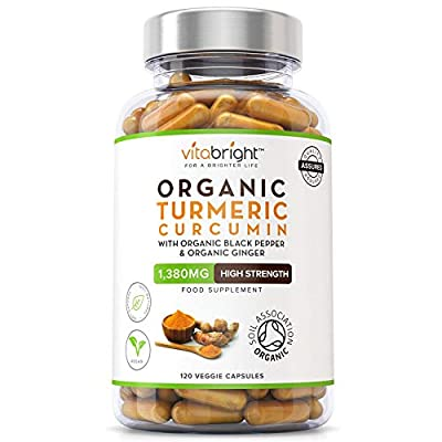 Organic Turmeric Curcumin 1380mg with Organic Black Pepper & Organic Ginger | High Potency | 120 Veg Capsules | Premium Joint Support | Certified Organic, Non GMO, Vegan & Gluten Free from VitaBright