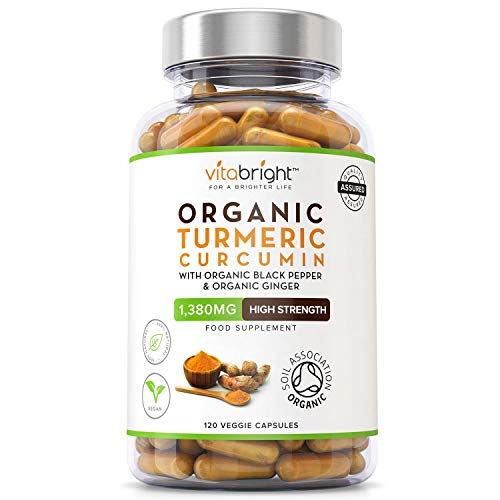 Organic Turmeric Curcumin 1380mg with Organic Black Pepper & Organic Ginger - 120 Vegan Capsules - High Strength - Certified Organic, Non GMO, Vegan & Gluten Free