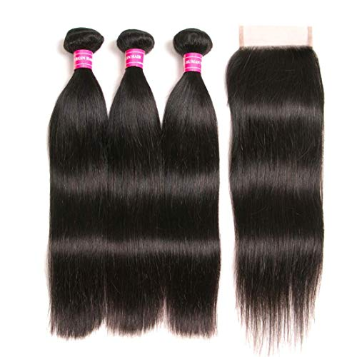 RUIMEISI Brazilian Straight Hair With Closure 3 Bundles Unprocessed Virgin Human Hair Bundles With Lace Closure Free Part Hair Extensions Natural Color (12/14/16+10 Inch)